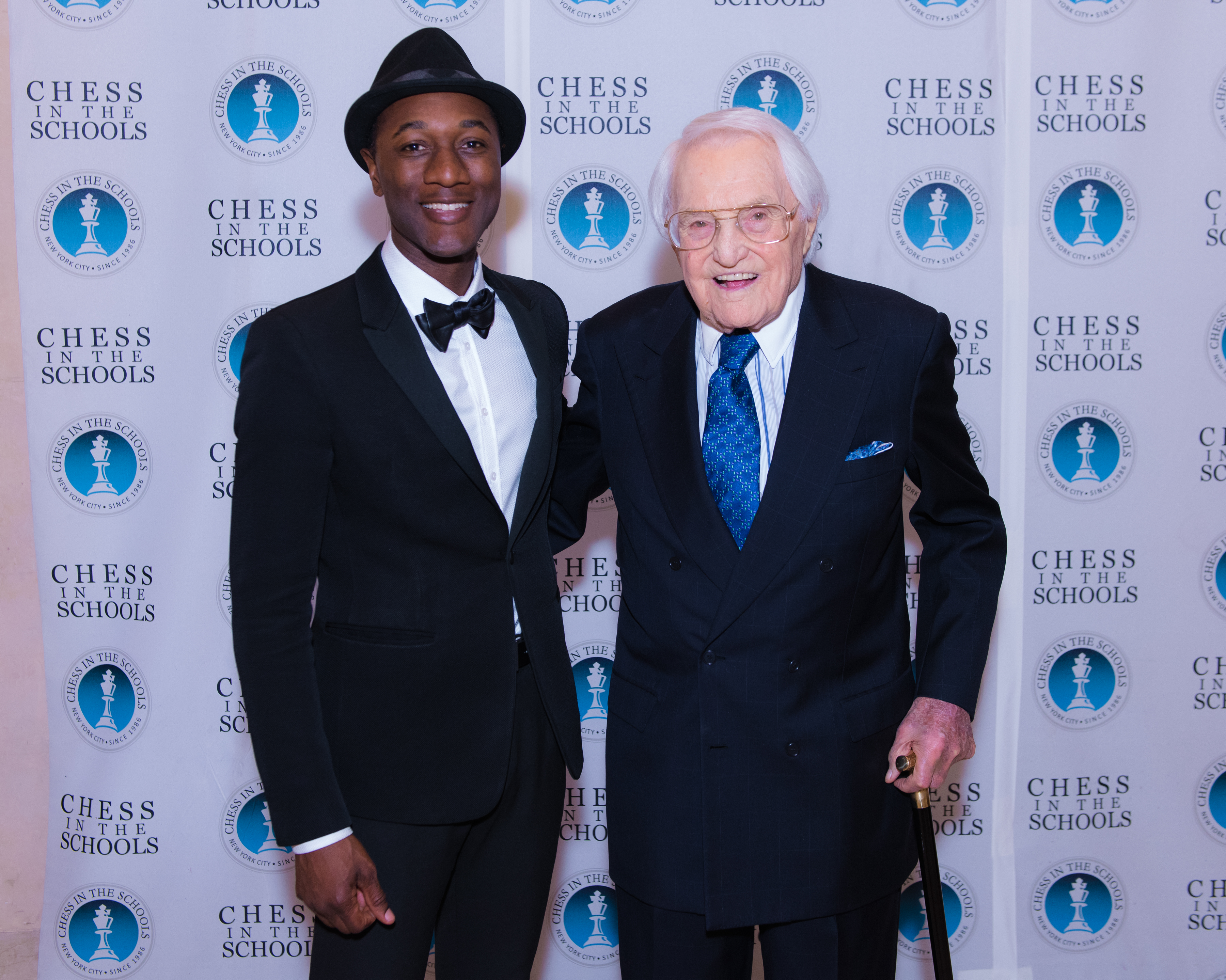 Aloe Blacc and Lewis B. Cullman, Chairman of Chess in the Schools.